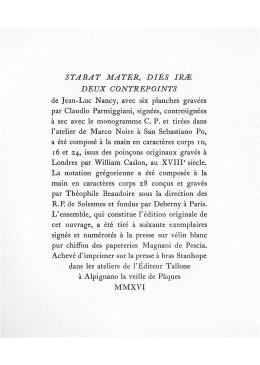 Stabat Mater. Dies Iræ. Deux Contrepoints.